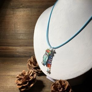 Jewelry - Weird Little Turquoise Owl Charm Pendant Necklace